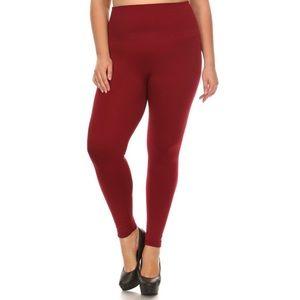 Red Wine Fleece Legging With Tummy Control